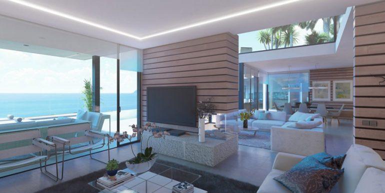 Luxusvilla in erster Meeresline mit privatem Strandzugang in Moraira Cap Blanc - Meerblick vom Wohnbereich - ID: 5500694