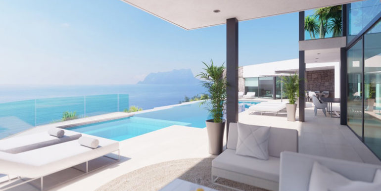 First line luxury villa with private beach access in Moraira Cap Blanc - Sea views from the pool terrace - ID: 5500694
