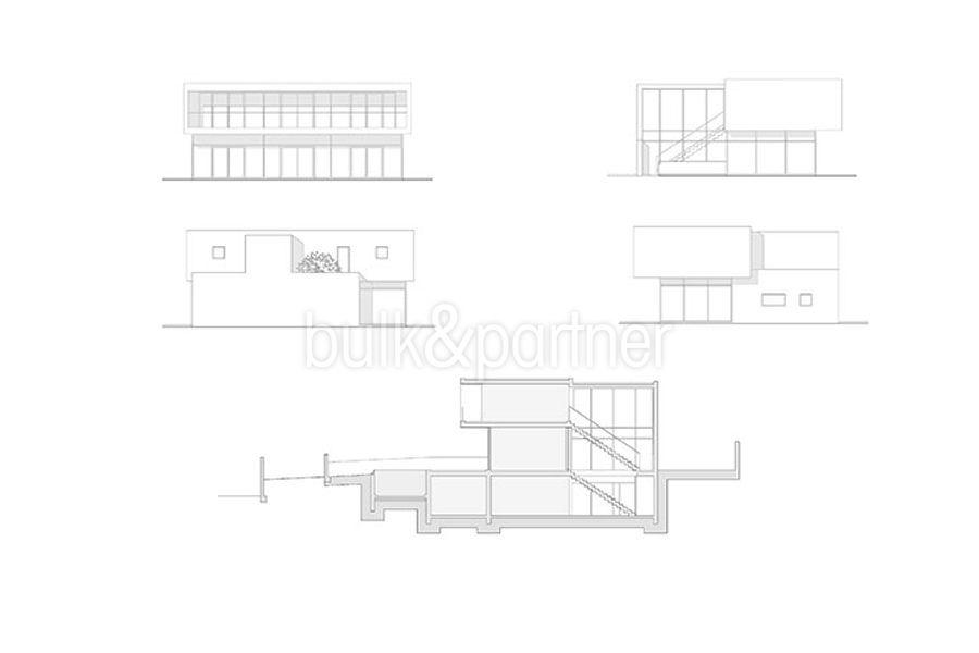 New build design villa with sea views in Moraira El Portet - Floor plan facades and average - ID: 5500692 - Architect Dalia Alba