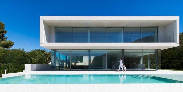 New build design villa with sea views in Moraira El Portet - Pool terrace and villa - ID: 5500692 - Architect Dalia Alba