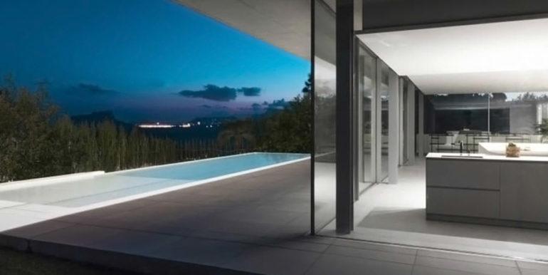 New build design villa with sea views in Moraira El Portet - Sea views by night, pool and villa illuminated - ID: 5500692 - Architect Dalia Alba