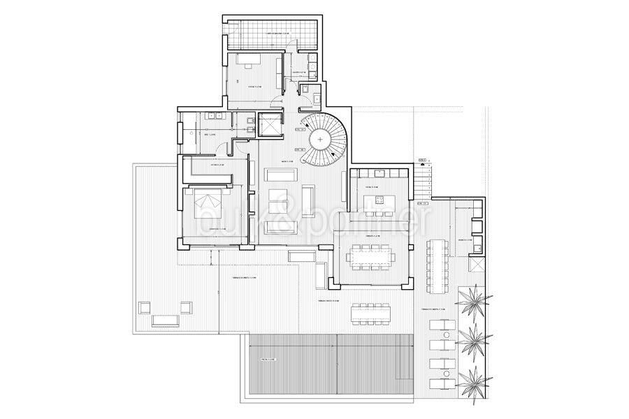 Erste Meereslinie Luxusvilla in Jávea Granadella - Grundriss Erdgeschoss - ID: 5500693