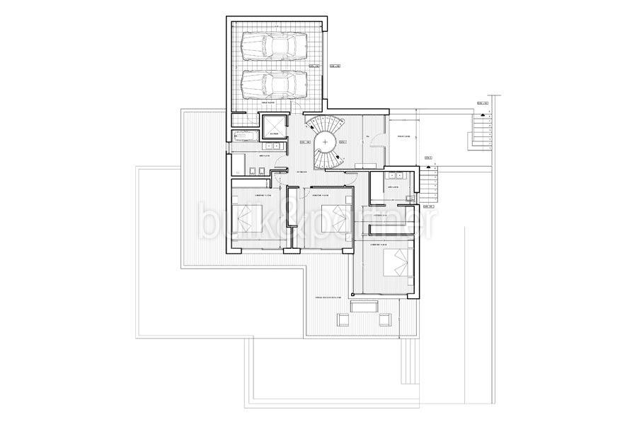 Erste Meereslinie Luxusvilla in Jávea Granadella - Grundriss Obergeschoss - ID: 5500693
