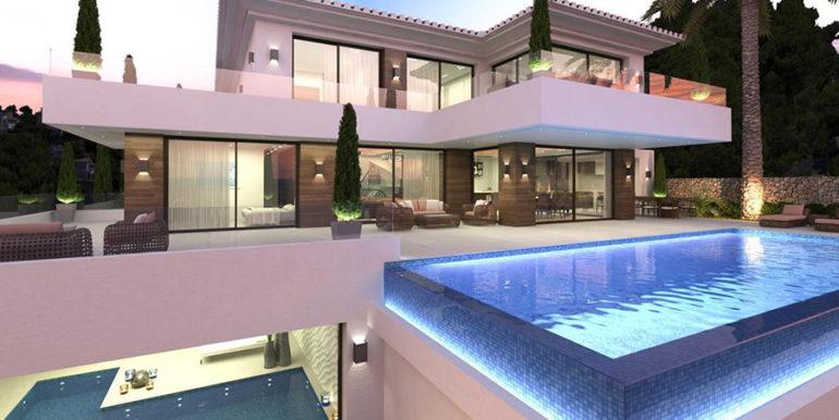 Waterfront luxury villa in Jávea Granadella - Infinity pool and indoor pool illuminated - ID: 5500693