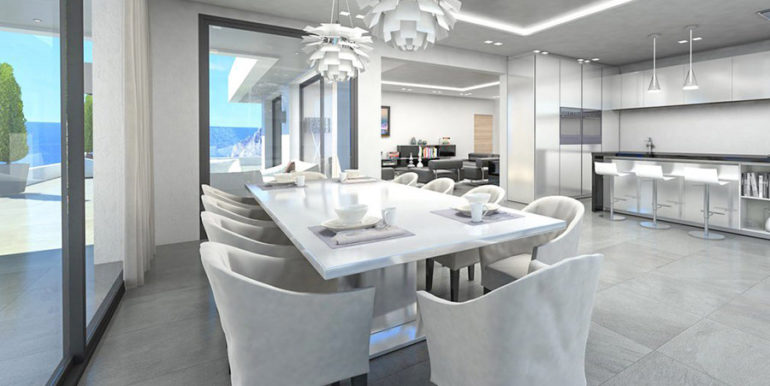 Waterfront luxury villa in Jávea Granadella - Living and dining area with open kitchen - ID: 5500693