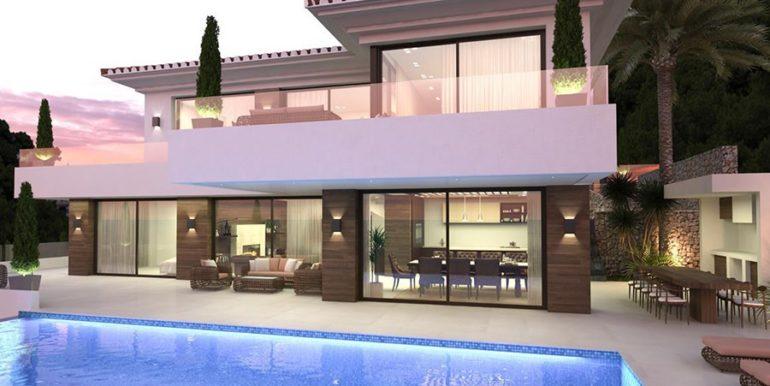 Waterfront luxury villa in Jávea Granadella - Pool terrace and bbq illuminated - ID: 5500693