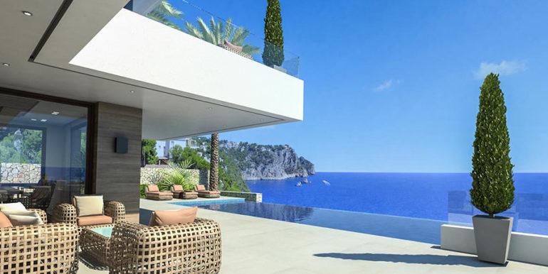 Villa de lujo frente al mar en Jávea Granadella - Terraza de la piscina con vistas al mar - ID: 5500693