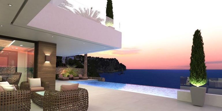 Waterfront luxury villa in Jávea Granadella - Pool terrace with incredible sea views illuminated - ID: 5500693
