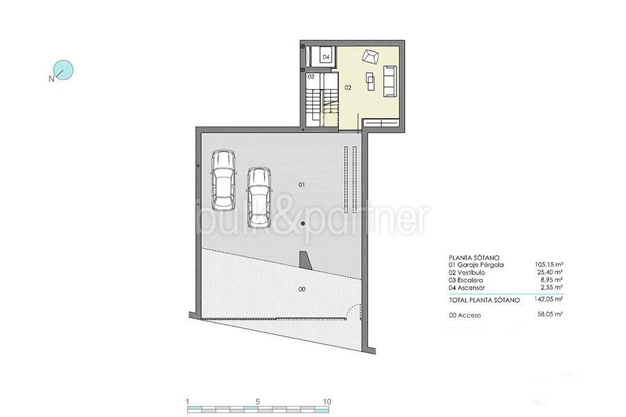 Moderna villa de lujo con fantásticas vistas al mar en Moraira El Portet - Plano sótano y del garaje - ID: 5500696