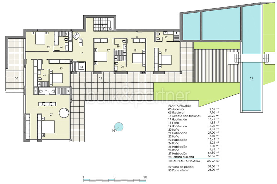 Modern luxury villa with fantastic sea views in Moraira El Portet - Floor plan first floor - ID: 5500696