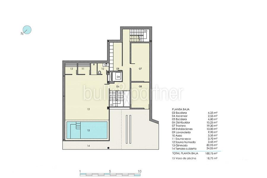 Moderna villa de lujo con fantásticas vistas al mar en Moraira El Portet - Plano planta baja con Spa, piscina interior y sauna - ID: 5500696