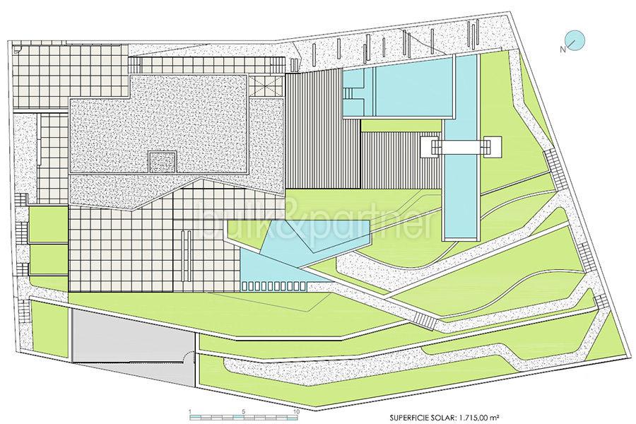 Moderna villa de lujo con fantásticas vistas al mar en Moraira El Portet - Plano parcela - ID: 5500696