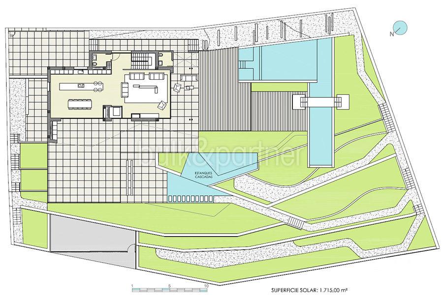 Moderna villa de lujo con fantásticas vistas al mar en Moraira El Portet - Plano parcela con planta segunda - ID: 5500696