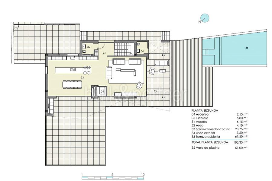 Moderna villa de lujo con fantásticas vistas al mar en Moraira El Portet - Plano planta segundo - ID: 5500696