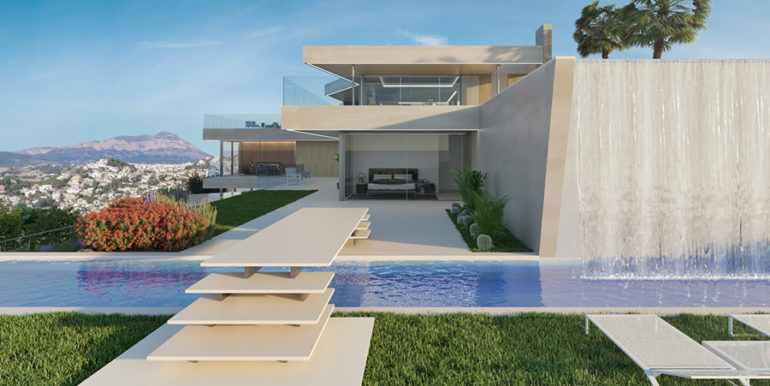 Modern luxury villa with fantastic sea views in Moraira El Portet - Garden and pool with waterfall - ID: 5500696