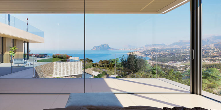 Modern luxury villa with fantastic sea views in Moraira El Portet - Master bedroom with sea views - ID: 5500696
