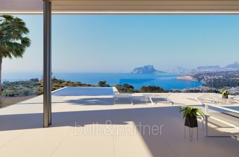 Modern luxury villa with fantastic sea views in Moraira El Portet - Pool and pool terrace with sea views - ID: 5500696