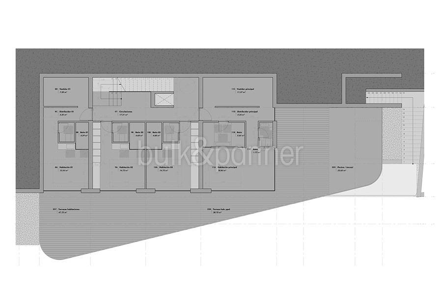 Luxury villa with incredible sea views in Moraira Benimeit - Floor plan top floor - ID: 5500697