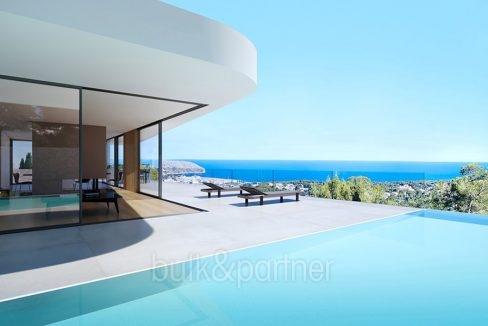Lujosa villa con increíbles vistas al mar en Moraira Benimeit - Terraza de la piscina con vista al mar - ID: 5500697 - Arquitecto CÍRCULOAZU