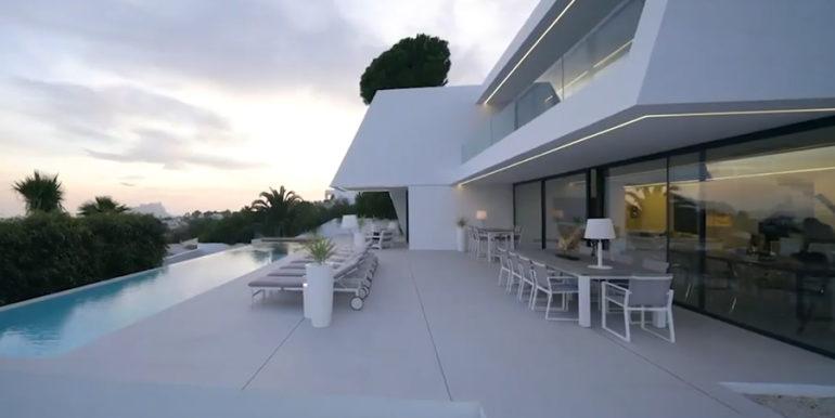 Luxury villa with perfect sea views in Moraira Benimeit - Pool terrace -illuminated by sunset - ID: 5500670 - Architect Ramón Gandia Brull (RGB Arquitectos)