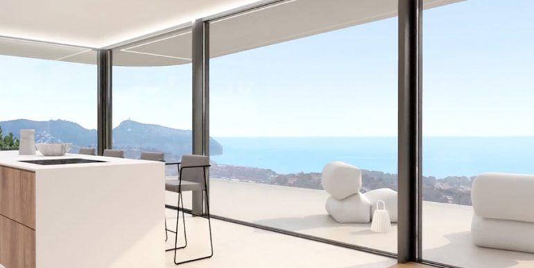 Luxury villa with incredible sea views in Moraira Benimeit - Open kitchen with sea views - ID: 5500697 - Architect CÍRCULOAZUL