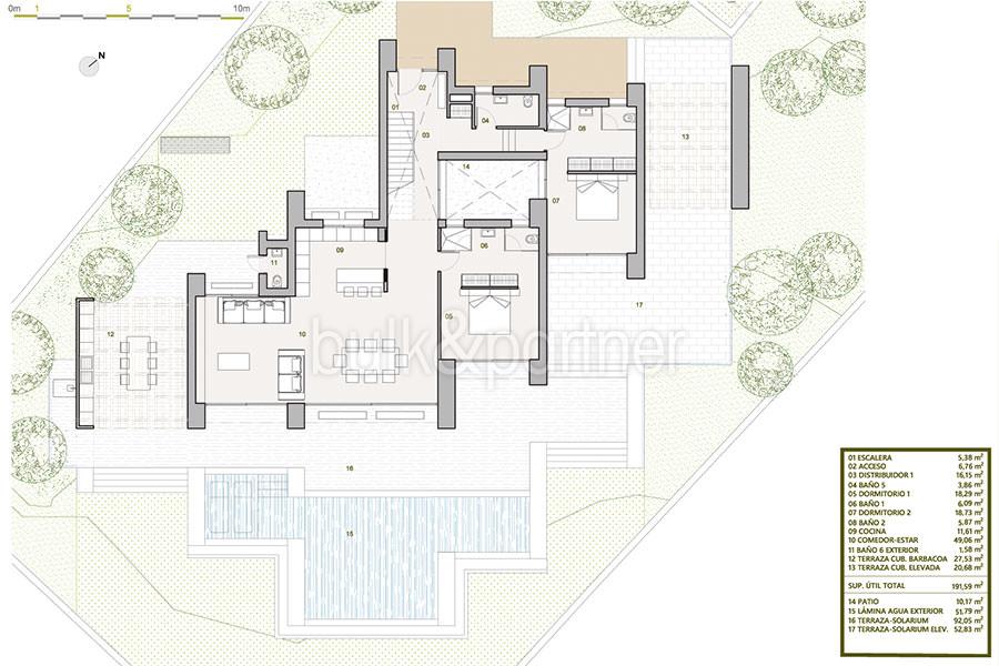 Villa de lujo de nueva construcción en Jávea Balcón al Mar - Plan planta principal - ID: 5500698