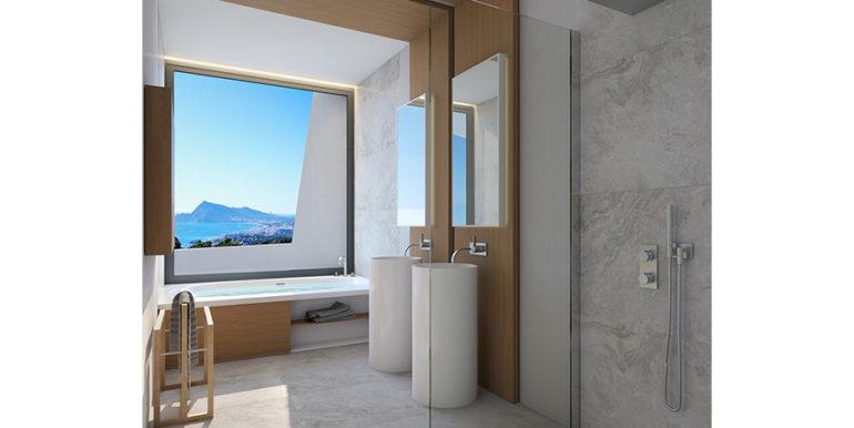 Moderna villa con inmejorables vistas al mar en Altéa Hills - Baño con vistas al mar - ID: 5500666 - Arquitecto Ramón Gandia Brull (RGB Arquitecto)