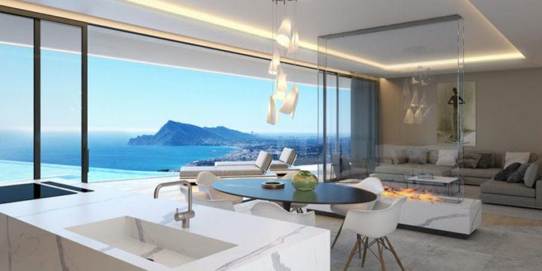 Moderna villa con inmejorables vistas al mar en Altéa Hills - Cocina y comedor con vistas al mar - ID: 5500666 - Arquitecto Ramón Gandia Brull (RGB Arquitecto)