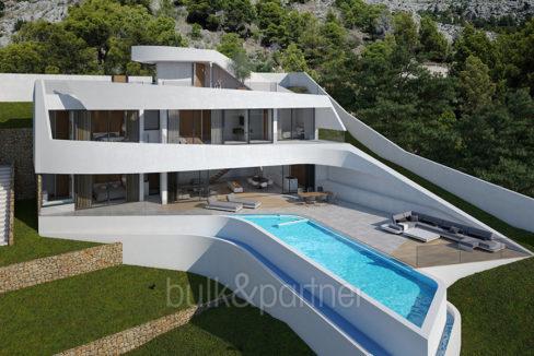 Moderne Villa mit unschlagbarem Meerblick in Altéa Hills - Villa und Poolterrasse - ID: 5500666 - Architekt Ramón Gandia Brull (RGB Arquitectos)