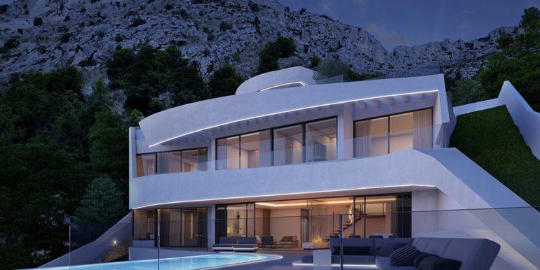Moderna villa con inmejorables vistas al mar en Altéa Hills - Villa y terraza de la piscina iluminado por la noche - ID: 5500666 - Arquitecto Ramón Gandia Brull (RGB Arquitecto)