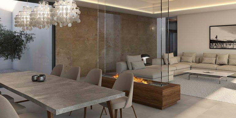 Exclusive design villa in Altéa la Vella - Dining area with fire place - ID: 5500699 - Architect Ramón Gandia Brull (RGB Arquitectos)