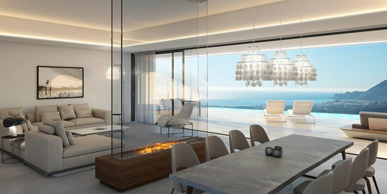 Exclusive design villa in Altéa la Vella - Dining area with open kitchen and living area with sea views - ID: 5500699 - Architect Ramón Gandia Brull (RGB Arquitectos)