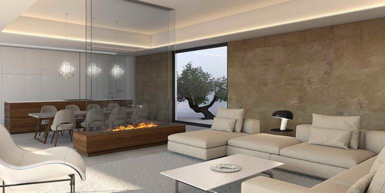 Exclusive design villa in Altéa la Vella - Living area with fire place - ID: 5500699 - Architect Ramón Gandia Brull (RGB Arquitectos)
