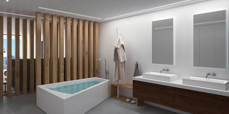 Exclusive design villa in Altéa la Vella - Master bathroom with bathtub and dressing area - ID: 5500699 - Architect Ramón Gandia Brull (RGB Arquitectos)