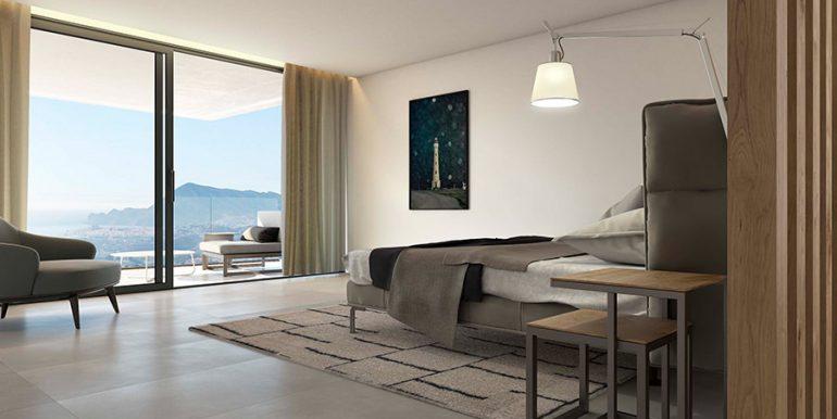 Exclusive design villa in Altéa la Vella - Master bedroom with terrace and sea views - ID: 5500699 - Architect Ramón Gandia Brull (RGB Arquitectos)