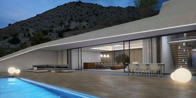 Exclusive design villa in Altéa la Vella - Pool terrace and villa illuminated - ID: 5500699 - Architect Ramón Gandia Brull (RGB Arquitectos)