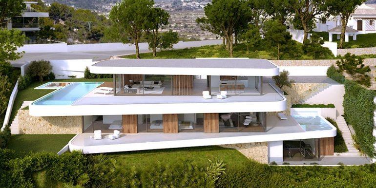 Luxusvilla mit unglaublichem Meerblick in Moraira Benimeit - Frontal gesamt - ID: 5500697 - Architekt CÍRCULOAZUL