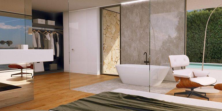 Luxusvilla mit unglaublichem Meerblick in Moraira Benimeit - Hauptschlafzimmer mit Ankleidebereich, offener Badewanne und Waschbecken - ID: 5500697 - Architekt CÍRCULOAZUL