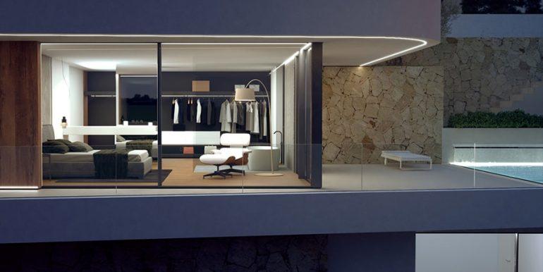 Luxusvilla mit unglaublichem Meerblick in Moraira Benimeit - Hauptschlafzimmer bei Nacht beleuchtet - ID: 5500697 - Architekt CÍRCULOAZUL