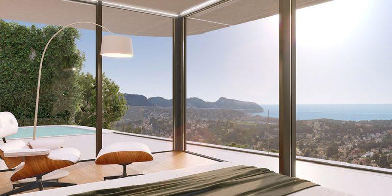 Luxusvilla mit unglaublichem Meerblick in Moraira Benimeit - Hauptschlafzimmer mit Poolterrasse und Meerblick - ID: 5500697 - Architekt CÍRCULOAZUL