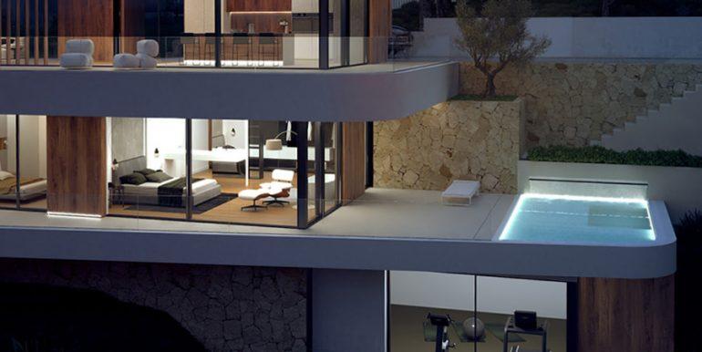 Luxusvilla mit unglaublichem Meerblick in Moraira Benimeit - Details bei Nacht beleuchtet - ID: 5500697 - Architekt CÍRCULOAZUL