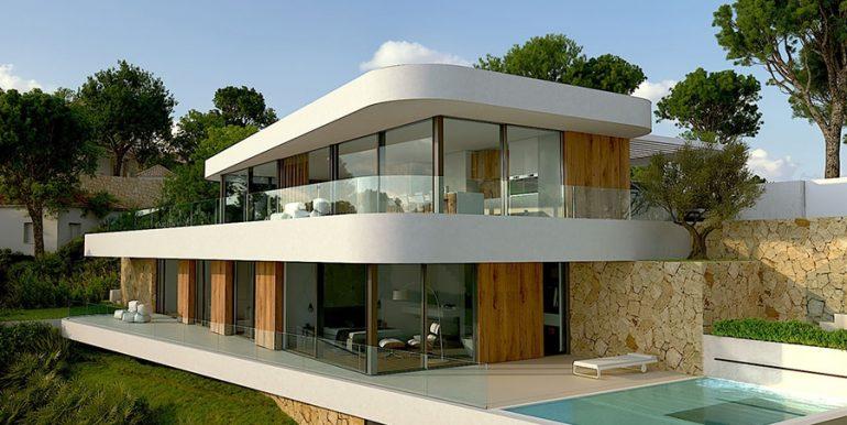 Luxusvilla mit unglaublichem Meerblick in Moraira Benimeit - Seitenblick und Poolterrasse vom Hauptschlafzimmer - ID: 5500697 - Architekt CÍRCULOAZUL